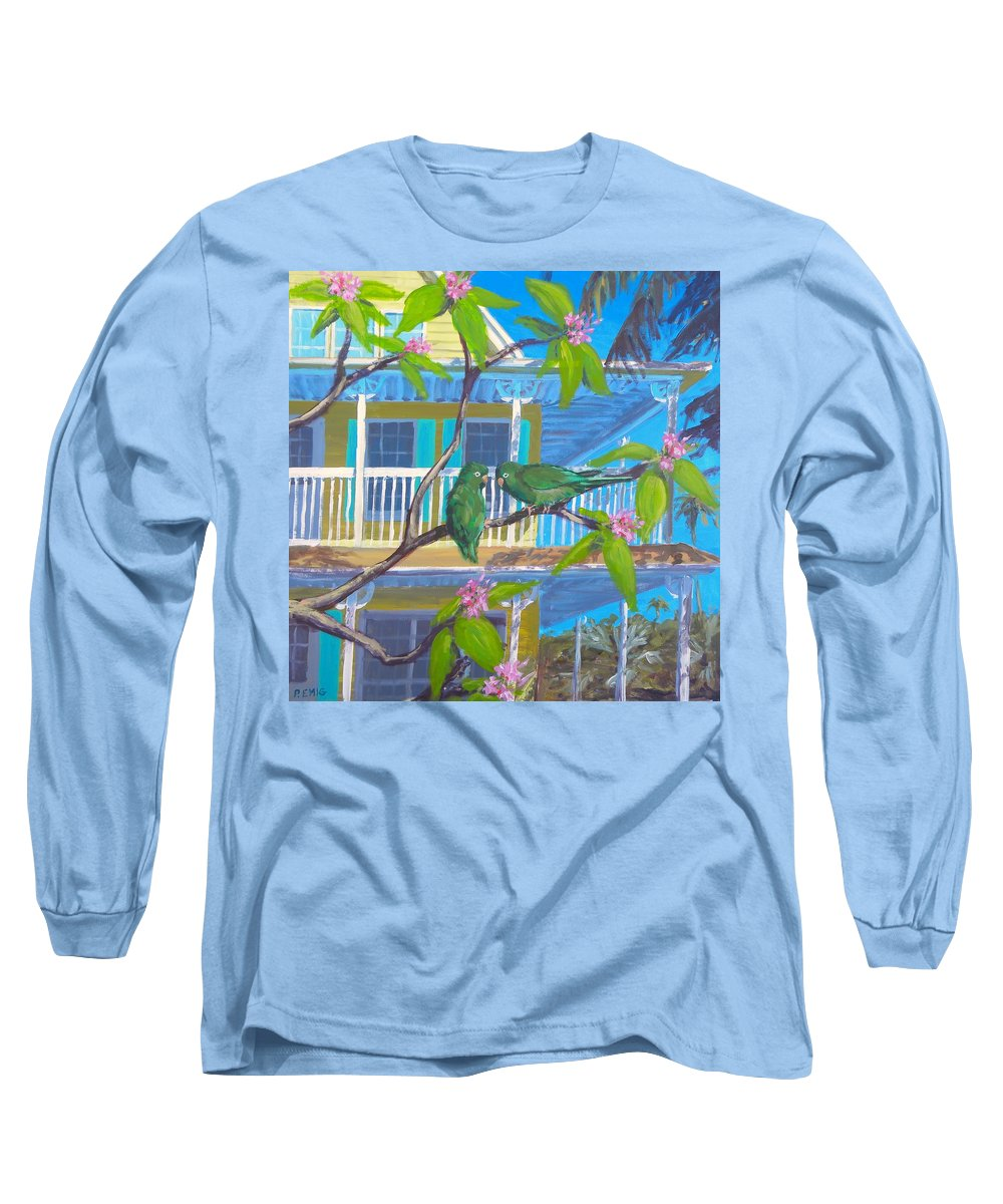 Parrots Long Sleeve T-Shirt featuring the painting Love Blooms by Paul Emig