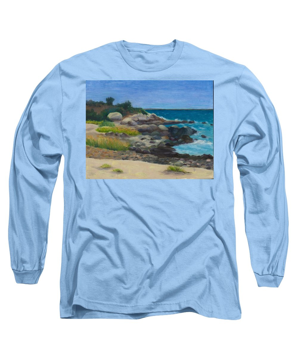 Landscape Long Sleeve T-Shirt featuring the painting Meigs Point by Paula Emery