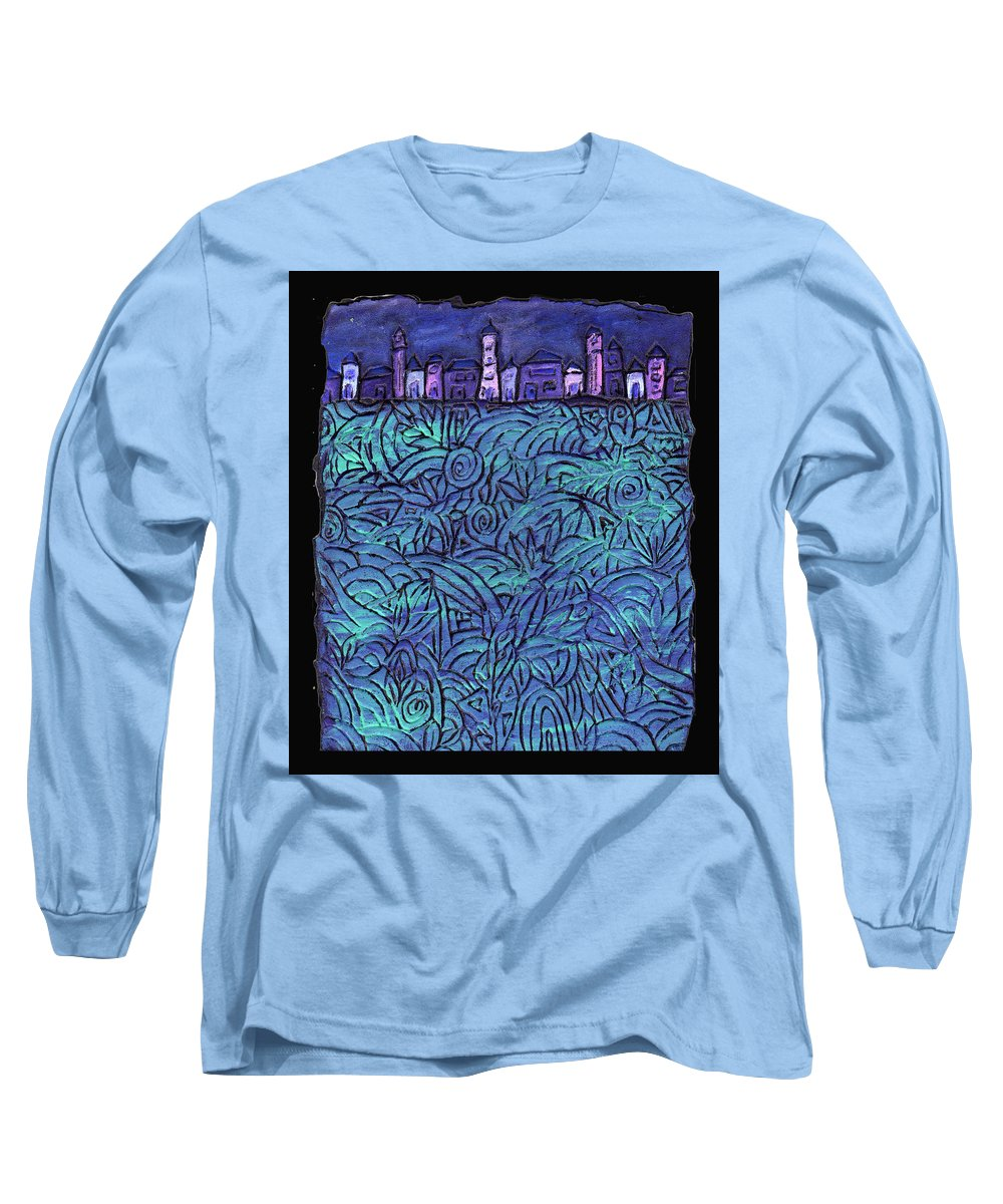 Night Long Sleeve T-Shirt featuring the painting Midnight by Wayne Potrafka