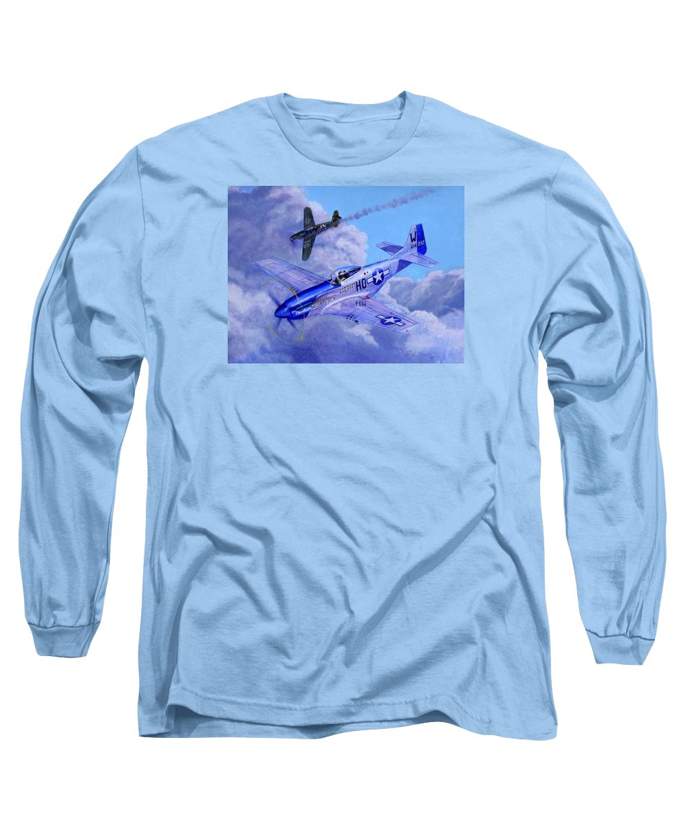 Capt Bill Wisner Shoots Down Two Bf-109s On November 2nd 1944 Long Sleeve T-Shirt featuring the painting Moonbeam Mcswine by Scott Robertson