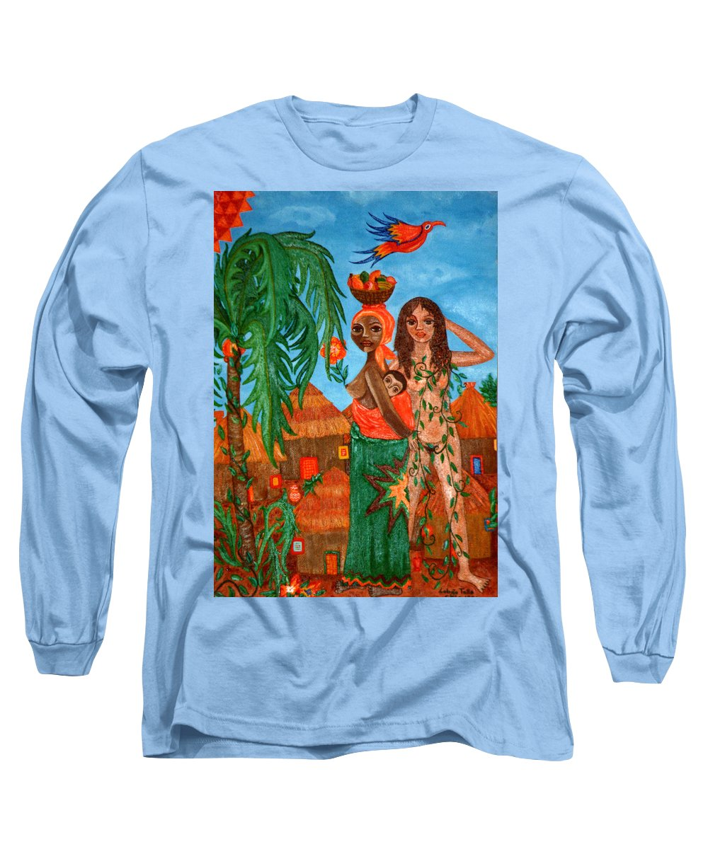 Mother Long Sleeve T-Shirt featuring the painting Mother Black Mother White by Madalena Lobao-Tello