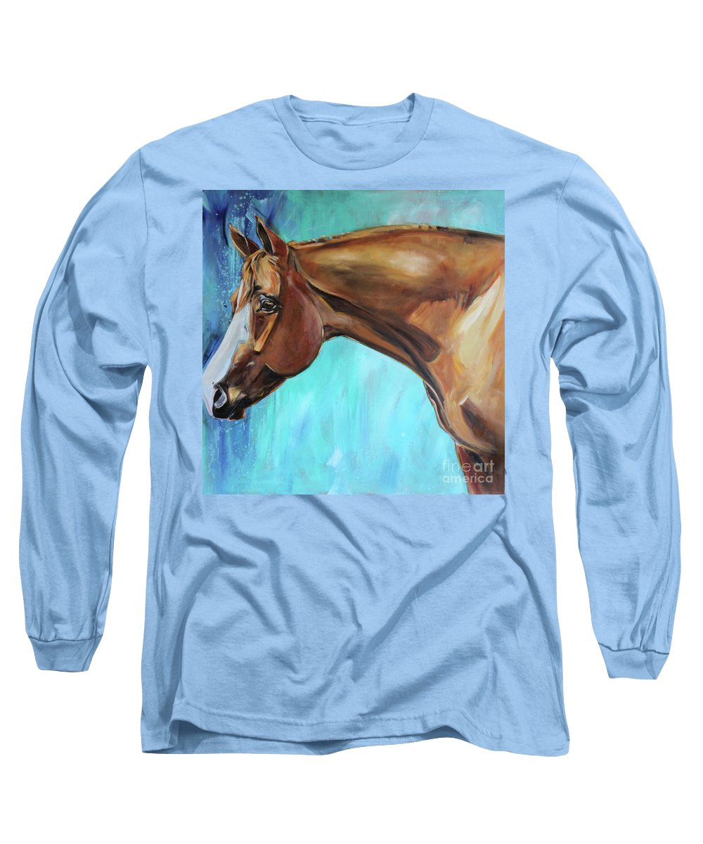 Horse Long Sleeve T-Shirt featuring the painting Mudflap by Maria Reichert