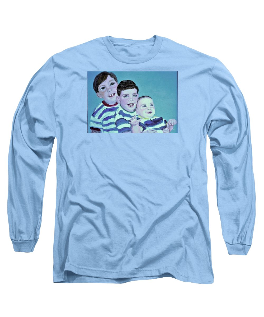 Children Long Sleeve T-Shirt featuring the painting My Three Sons by Laurie Morgan