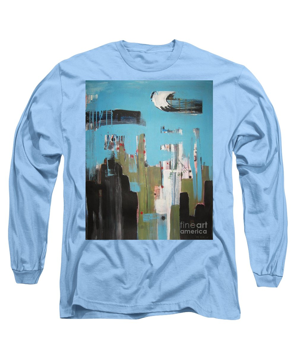 Abstract Paintings Long Sleeve T-Shirt featuring the painting Neglected Area by Seon-Jeong Kim