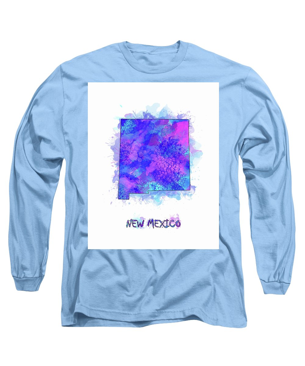 New Mexico Long Sleeve T-Shirt featuring the digital art New Mexico Map Watercolor 2 by Bekim M