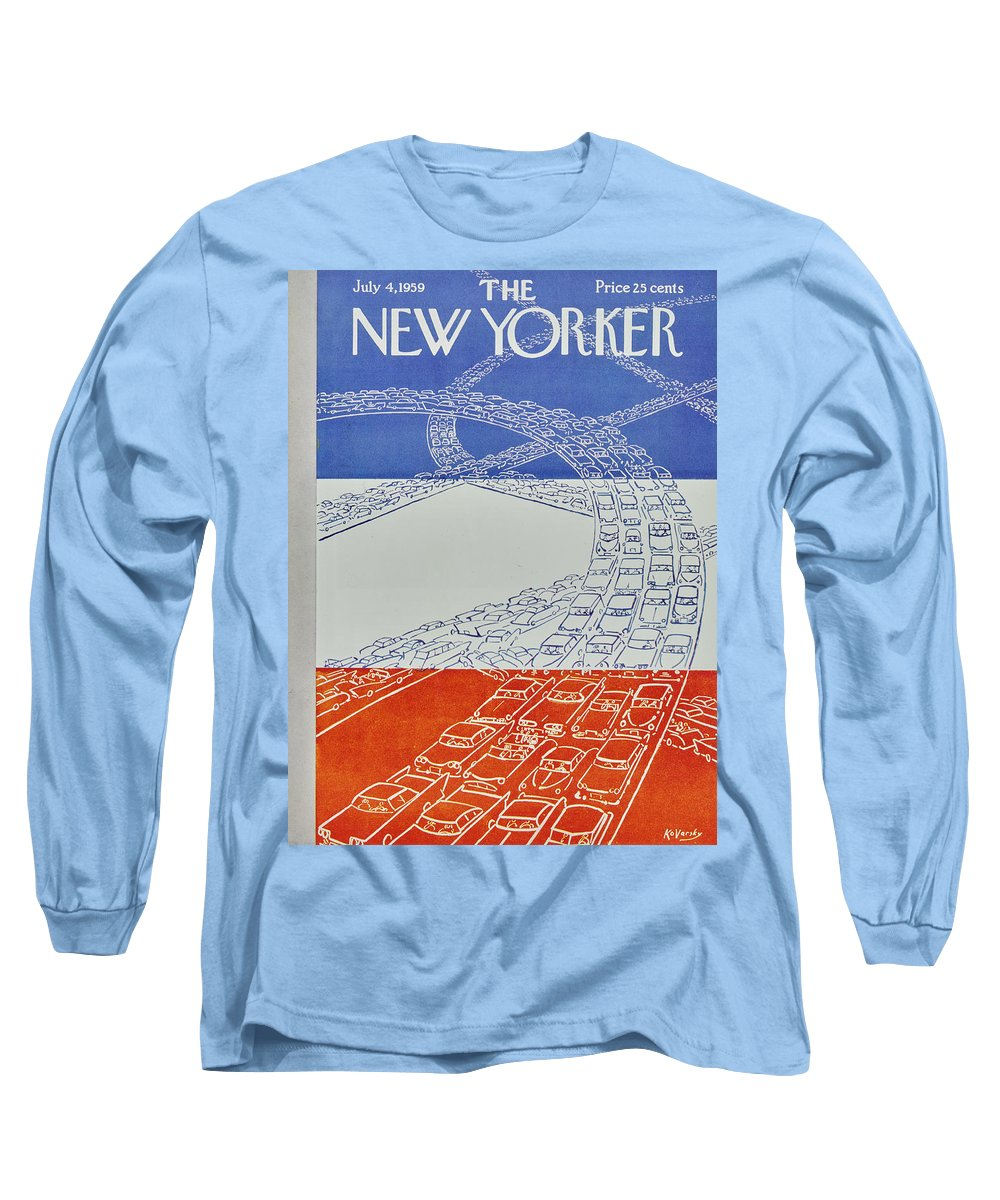 Bumper To Bumper Long Sleeve T-Shirt featuring the painting New Yorker July 4 1959 by Anatole Kovarsky