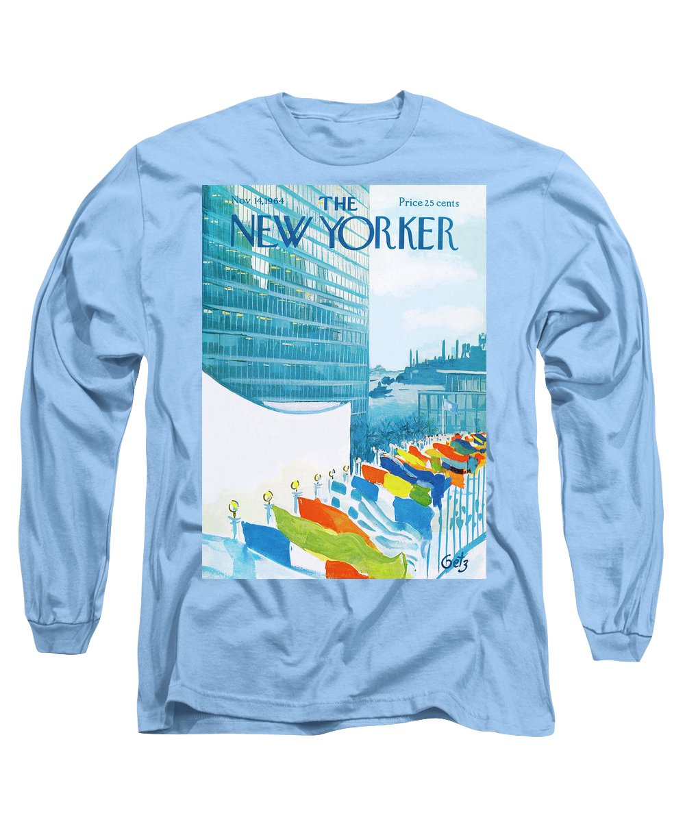 Urban Long Sleeve T-Shirt featuring the painting New Yorker November 14th, 1964 by Arthur Getz