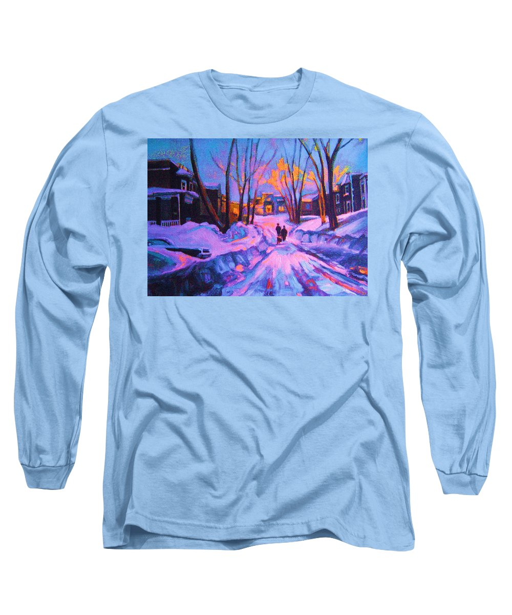 Winterscene Long Sleeve T-Shirt featuring the painting No Sidewalks by Carole Spandau