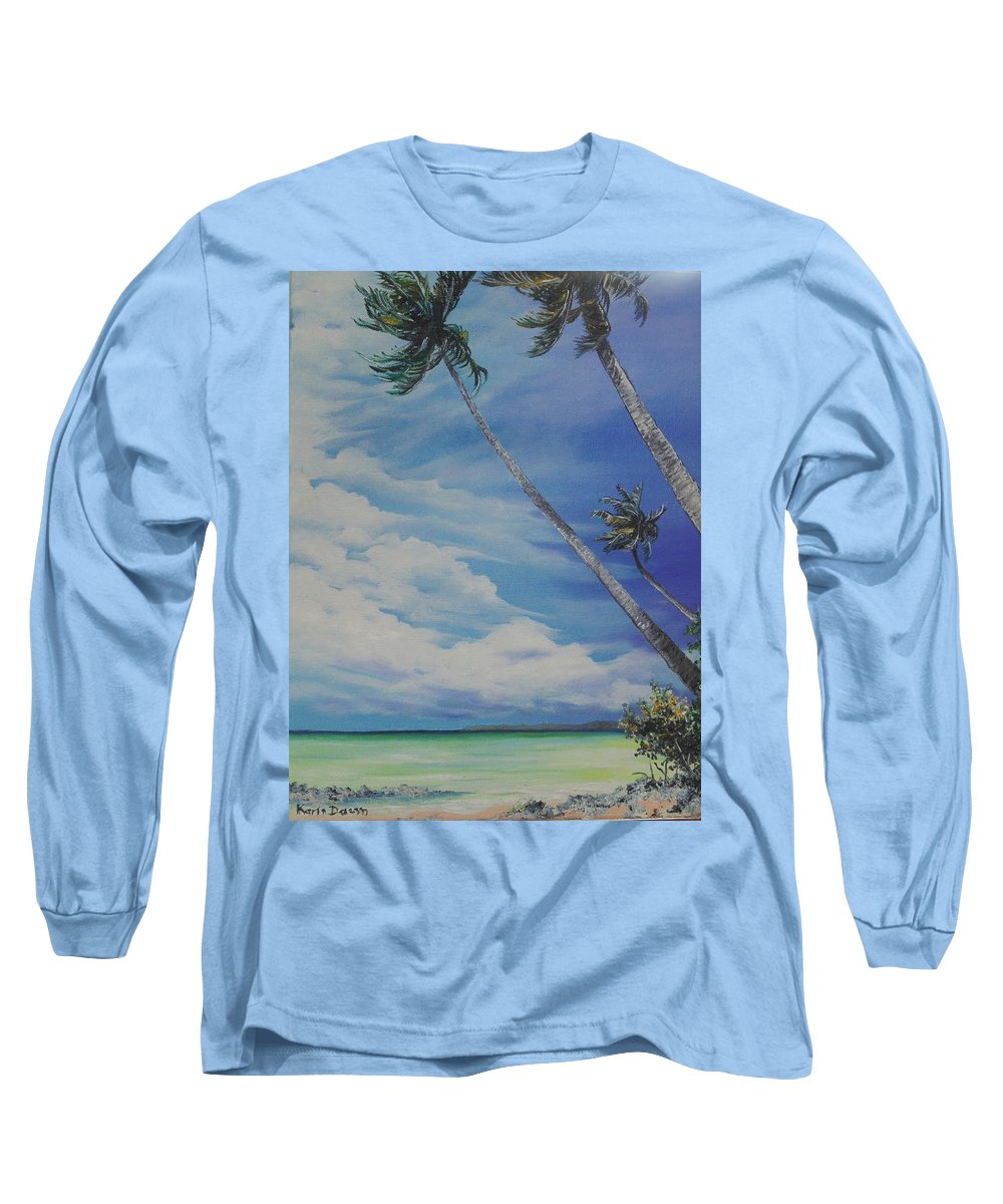 Ocean Painting Seascape Painting Beach Painting Palm Tree Painting Clouds Painting Tobago Painting Caribbean Painting Sea Beach T Obago Palm Trees Long Sleeve T-Shirt featuring the painting Nylon Pool Tobago. by Karin Dawn Kelshall- Best