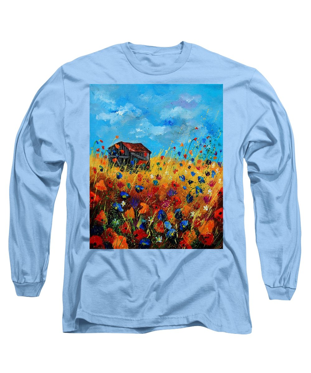 Poppies Long Sleeve T-Shirt featuring the painting Old Barn by Pol Ledent