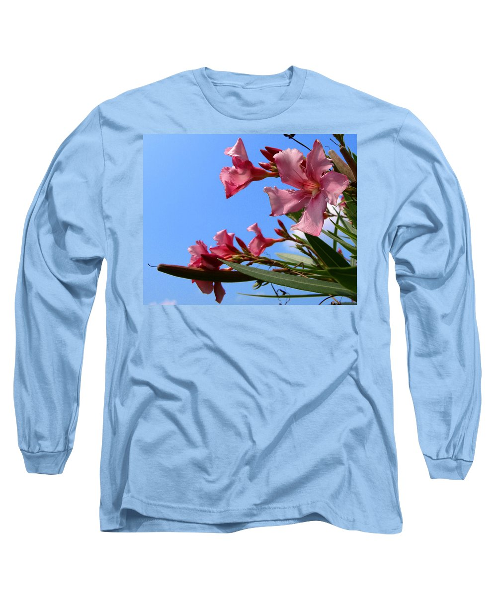 Flower; Florida; Oleander; Purple; Pink; Lavander; Sky; Blue; Clouds; Drought; Leaves; Green; South; Long Sleeve T-Shirt featuring the photograph Oleander Flowers Wilting In The Brutal Florida Sun by Allan Hughes