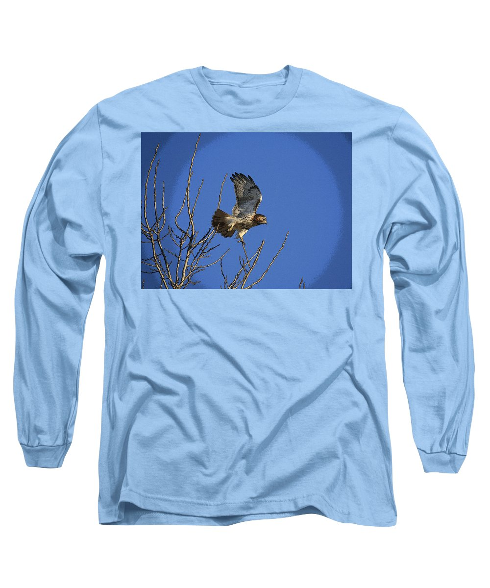 Hawk Long Sleeve T-Shirt featuring the photograph On The Move by Robert Pearson