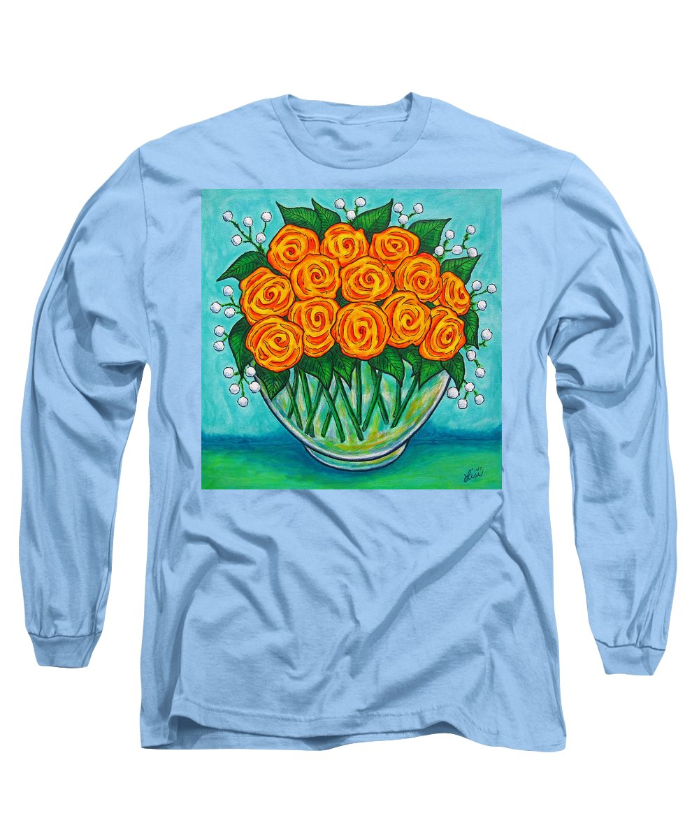 Orange Long Sleeve T-Shirt featuring the painting Orange Passion by Lisa Lorenz