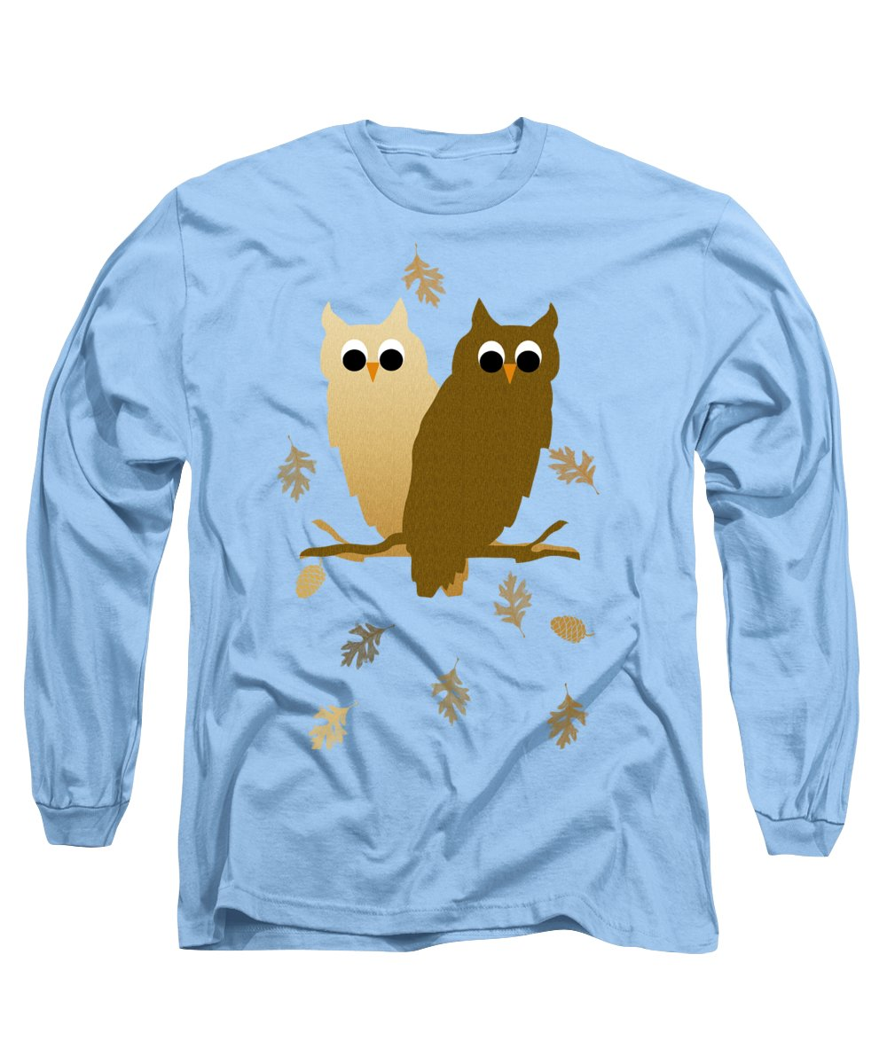 Owl Long Sleeve T-Shirt featuring the mixed media Owls Pattern Art by Christina Rollo