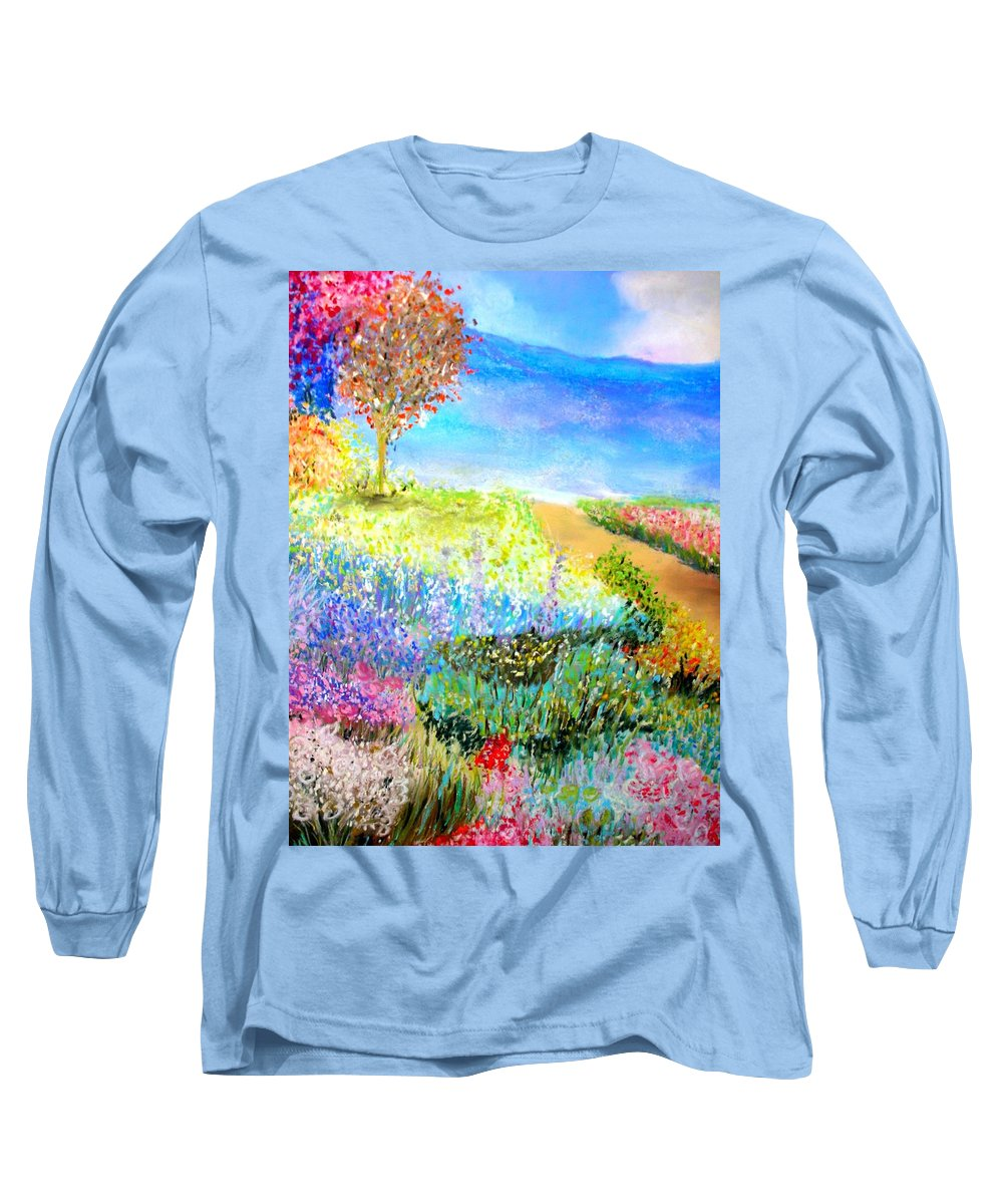 Landscape Long Sleeve T-Shirt featuring the print Patricia's Pathway by Melinda Etzold