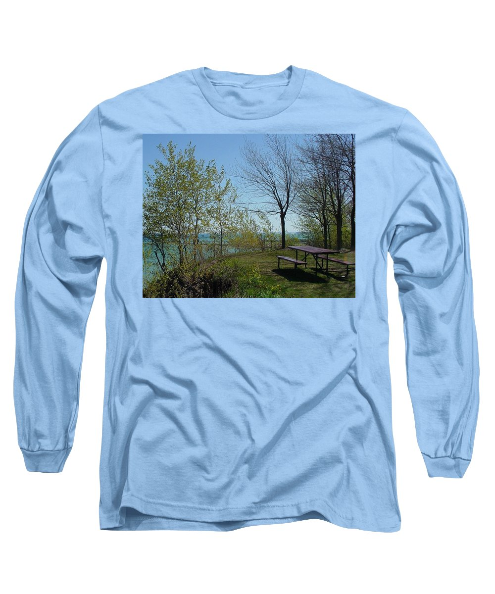 Lake View Long Sleeve T-Shirt featuring the photograph Picnic Table By The Lake Photo by Anita Burgermeister