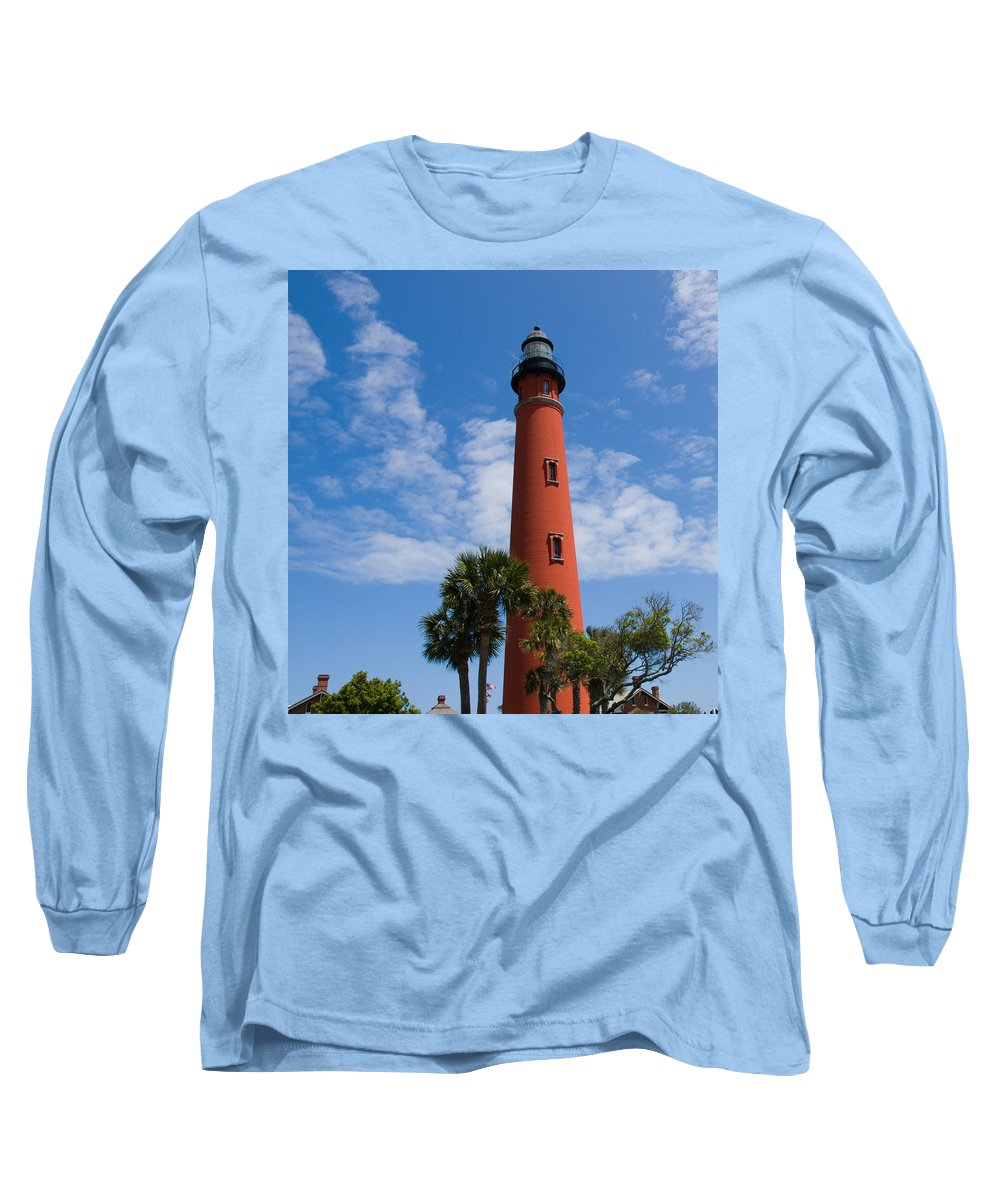Ponce; De; Leon; Lighthouse; Light; House; Beacon; Navigation; Aid; Lens; Fresnel; Mosquito; Florida Long Sleeve T-Shirt featuring the photograph Ponce De Leon Inlet Lighthouse by Allan Hughes