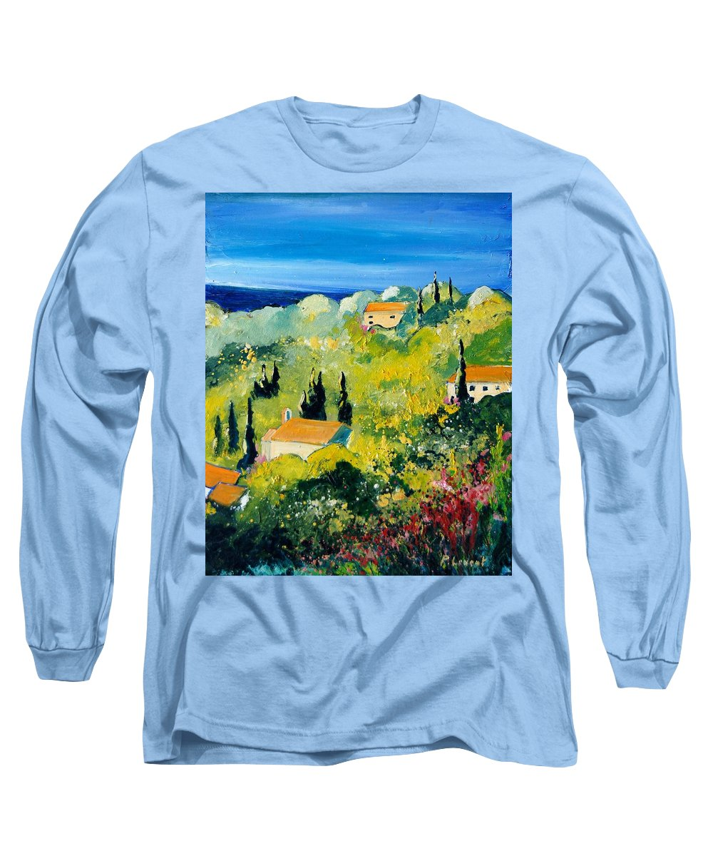 Village Long Sleeve T-Shirt featuring the painting Provence 459070 by Pol Ledent