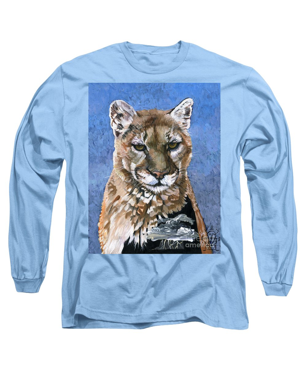 Puma Long Sleeve T-Shirt featuring the painting Puma - The Hunter by J W Baker