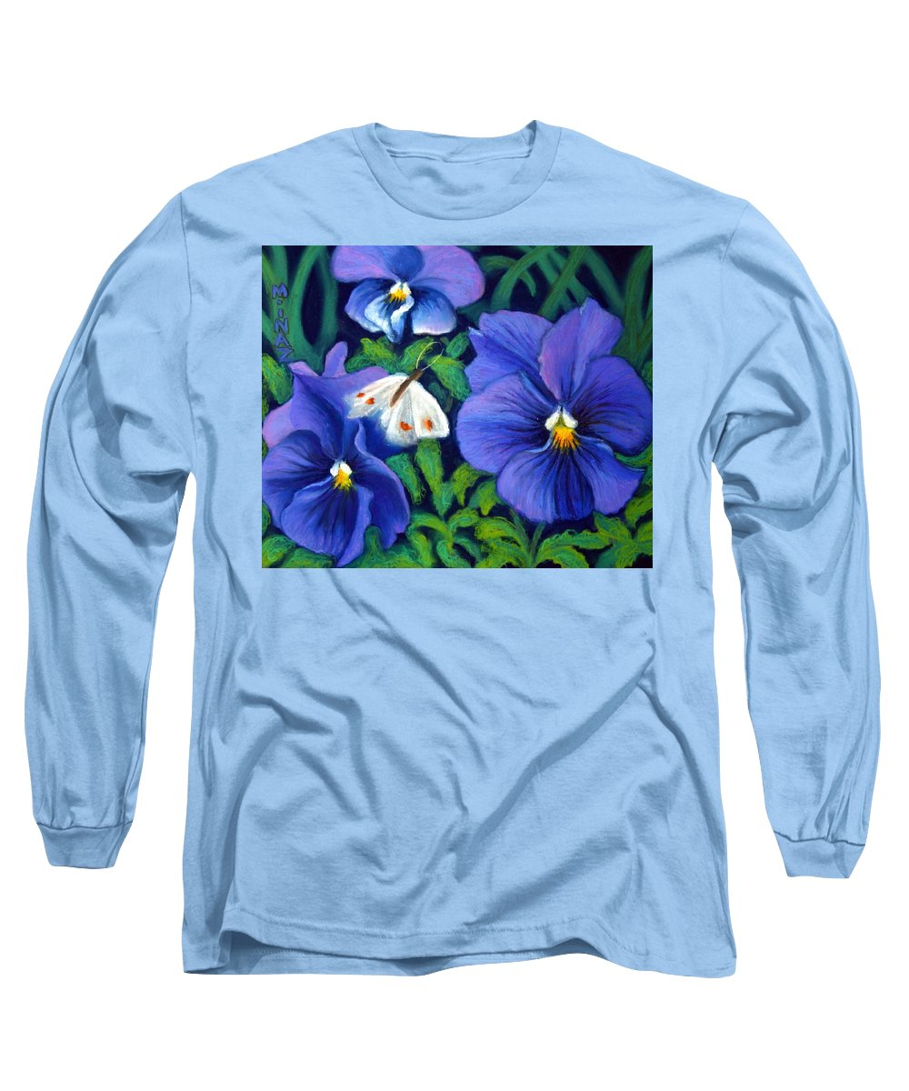 Pansy Long Sleeve T-Shirt featuring the painting Purple Pansies And White Moth by Minaz Jantz