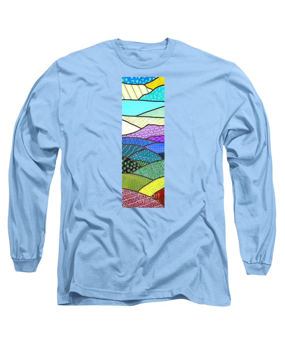 Mountain Long Sleeve T-Shirt featuring the painting Quilted Mountain by Jim Harris