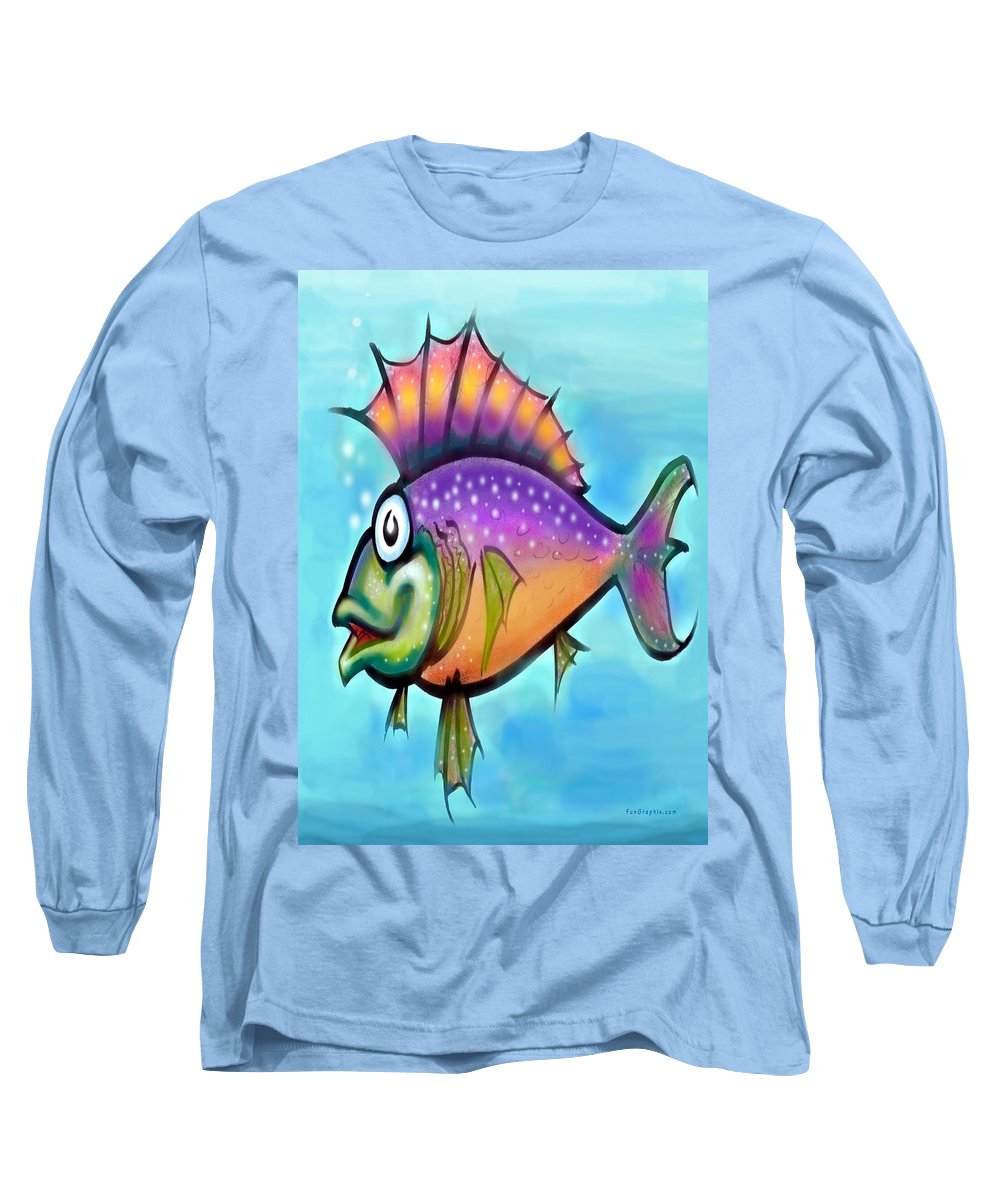 Fish Long Sleeve T-Shirt featuring the greeting card Rainbow Fish by Kevin Middleton