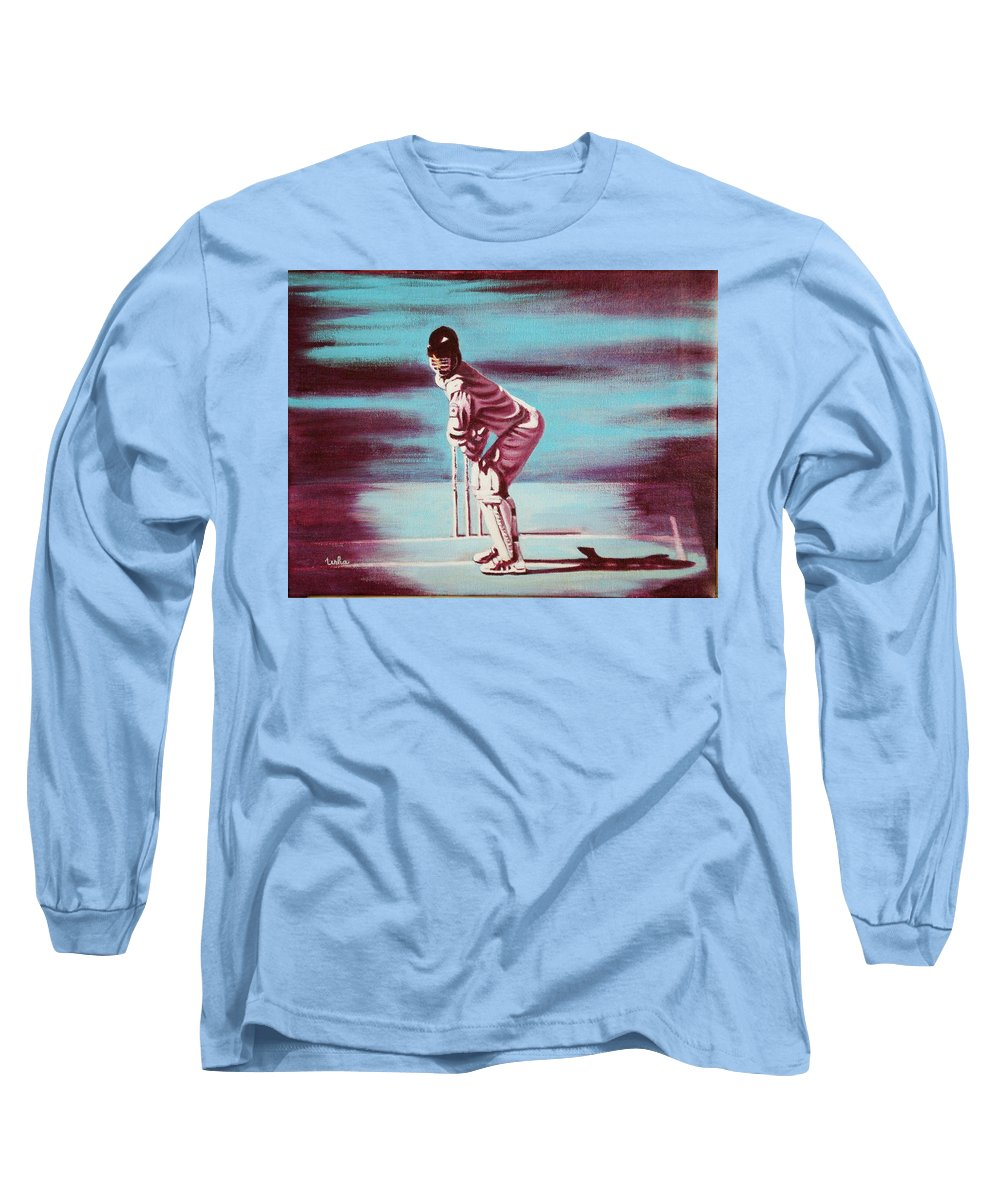 Long Sleeve T-Shirt featuring the painting Ready To Bat by Usha Shantharam