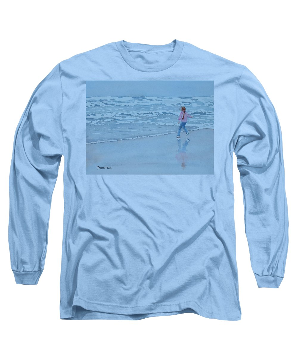 Ocean Long Sleeve T-Shirt featuring the painting Retreat by Jenny Armitage