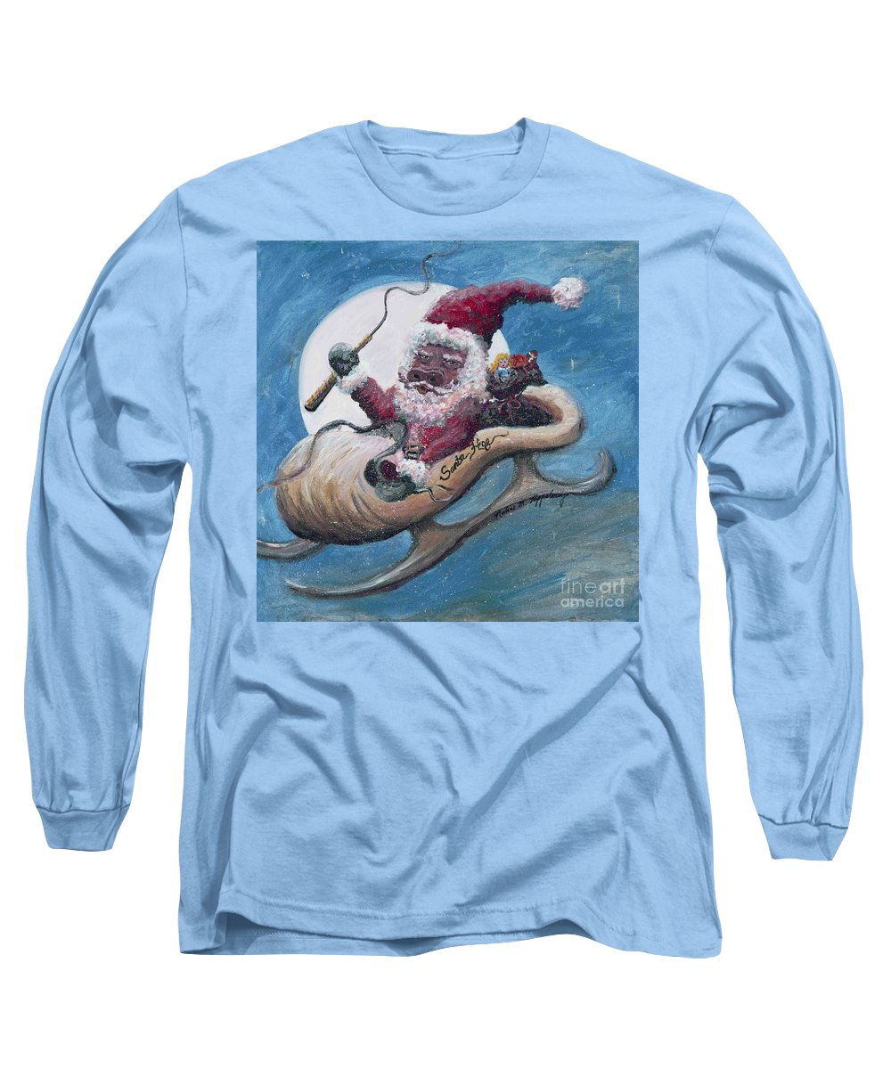 Christmas Long Sleeve T-Shirt featuring the painting Santa Hog by Nadine Rippelmeyer
