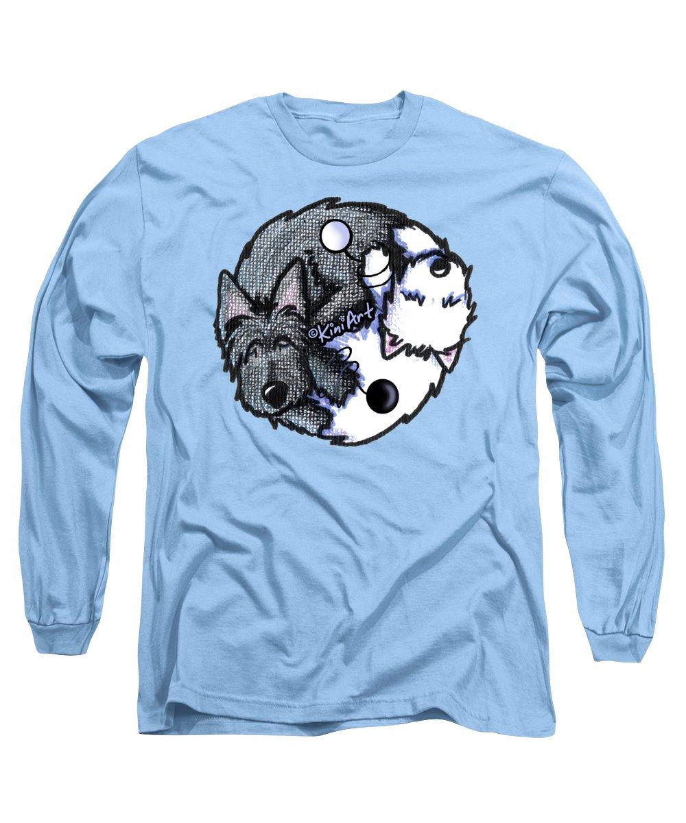 Yin Yang Long Sleeve T-Shirt featuring the drawing Scottie Westie Yin Yang by Kim Niles