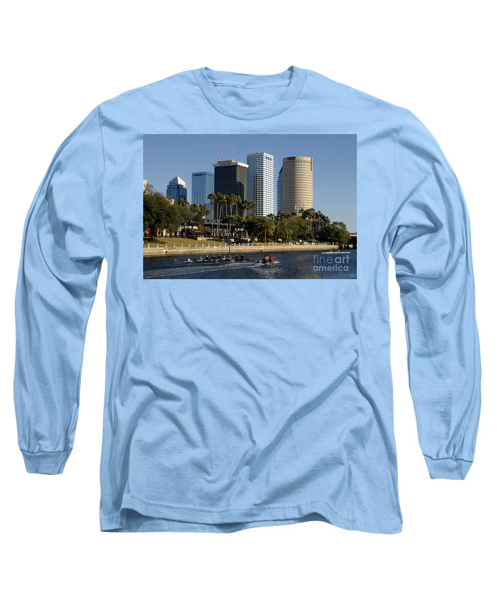 Sculling Long Sleeve T-Shirt featuring the photograph Sculling In Tampa Bay Florida by David Lee Thompson