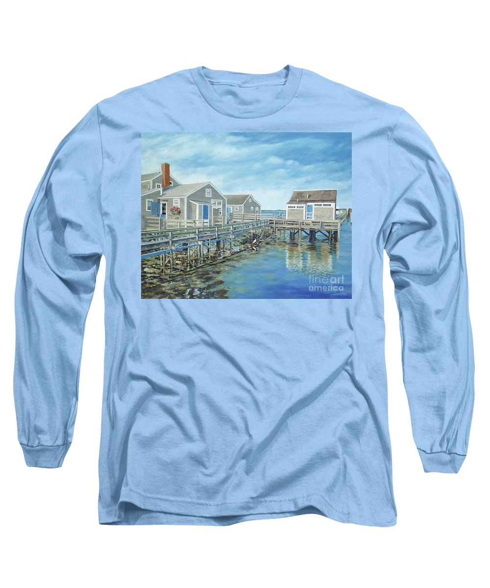 Nanutucket Long Sleeve T-Shirt featuring the painting Seaside Cottages by Danielle Perry