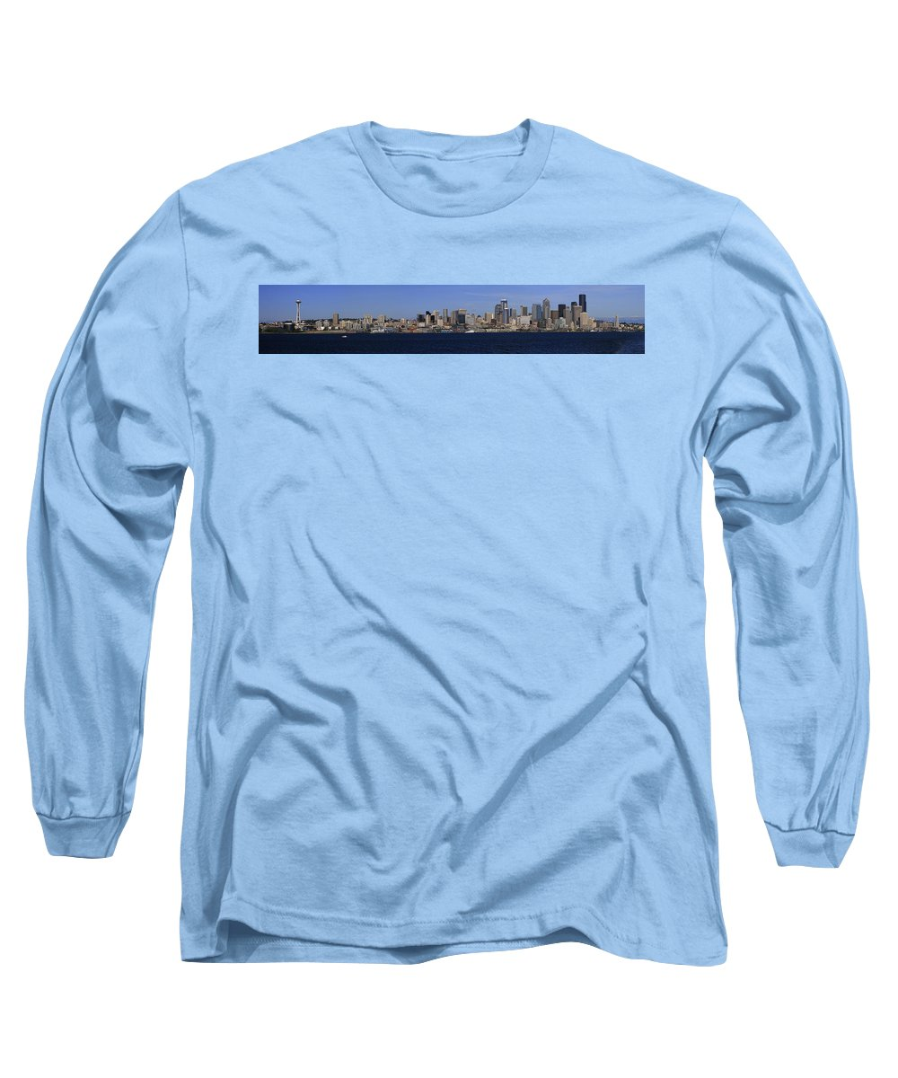 3scape Long Sleeve T-Shirt featuring the photograph Seattle Panoramic by Adam Romanowicz