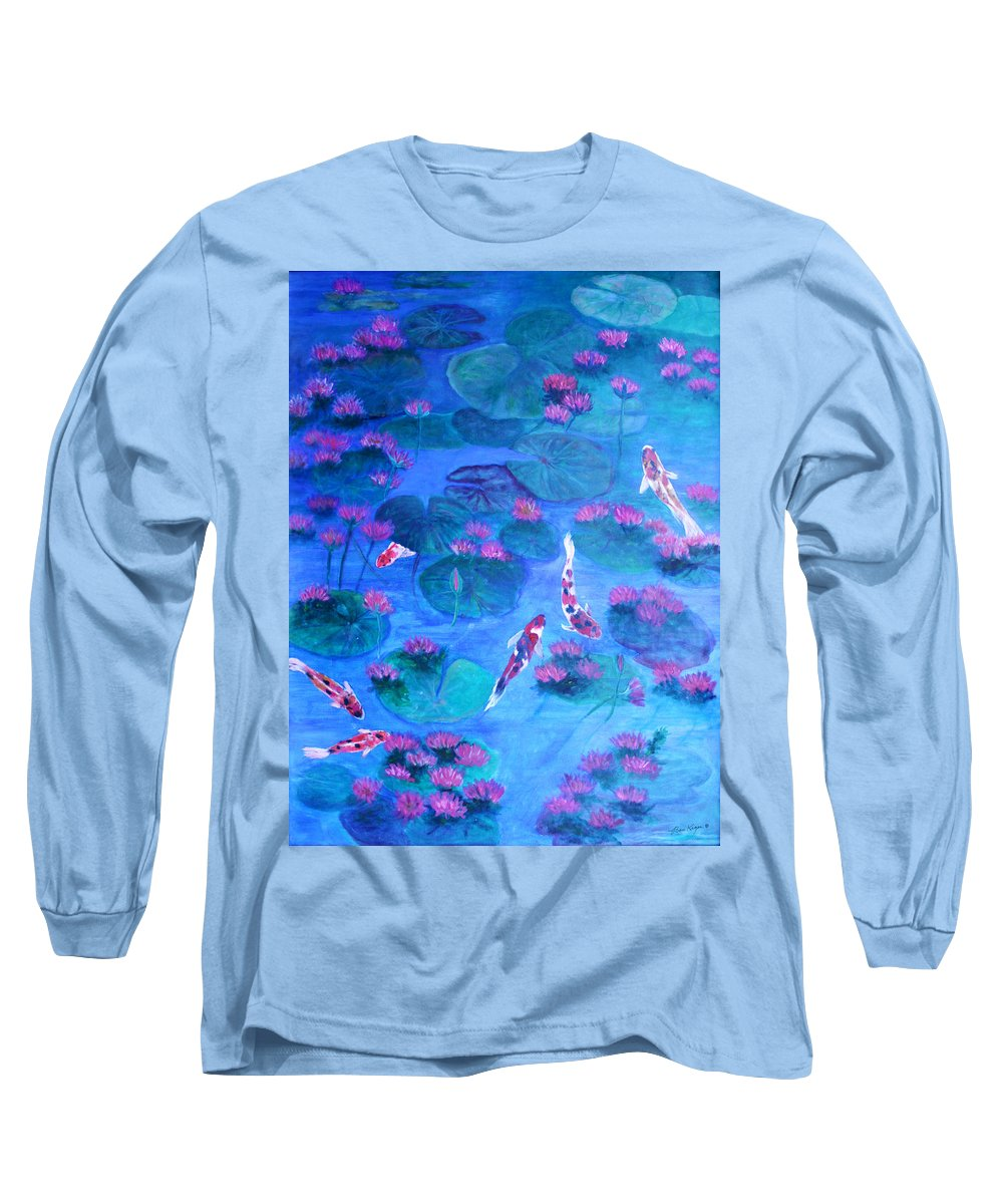 Lily Pads Long Sleeve T-Shirt featuring the painting Serene Pond by Ben Kiger