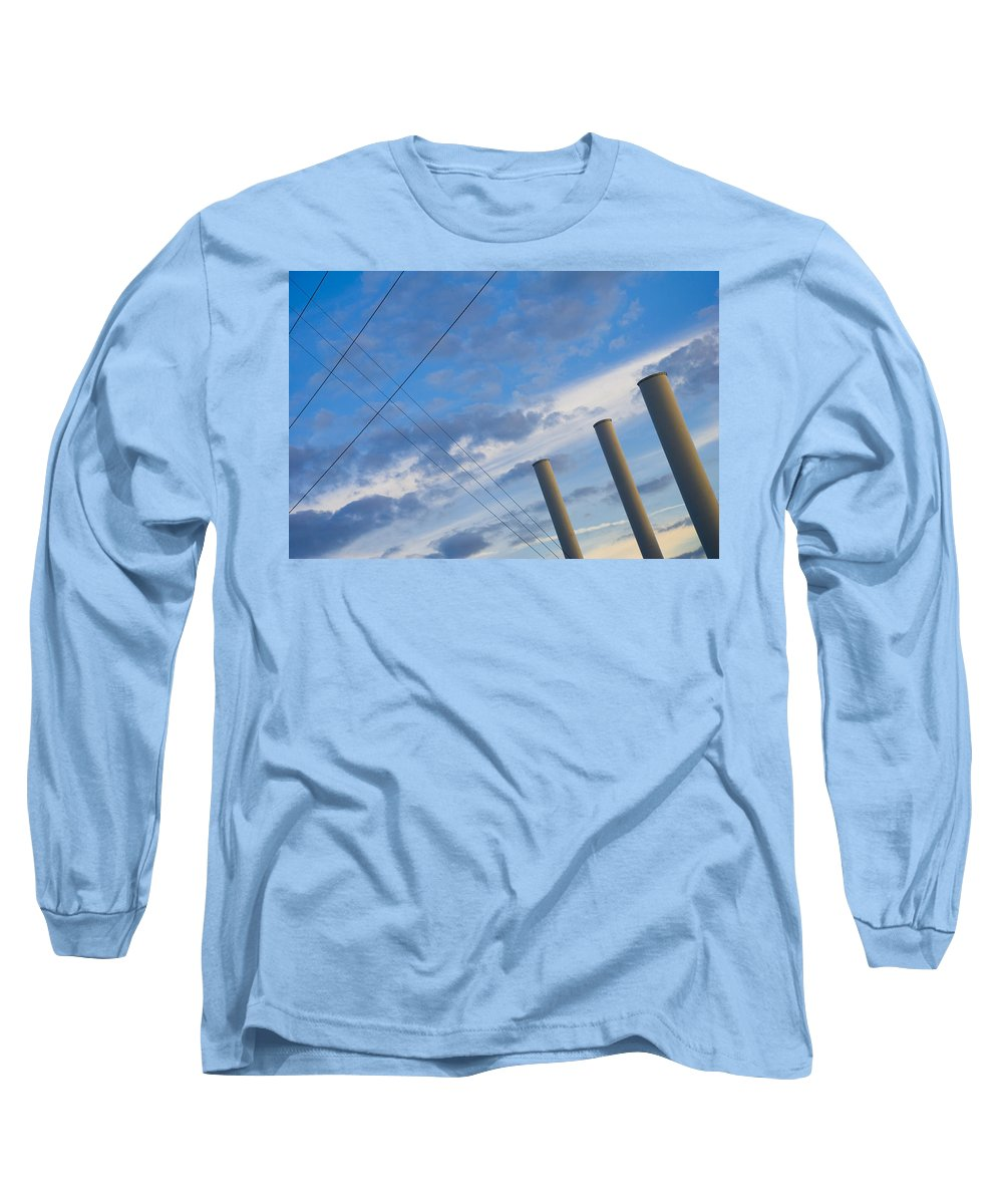 Blue Long Sleeve T-Shirt featuring the photograph Smoke Stax by Skip Hunt