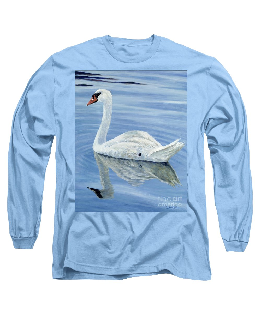 Swan Long Sleeve T-Shirt featuring the painting Solitary Swan by Danielle Perry