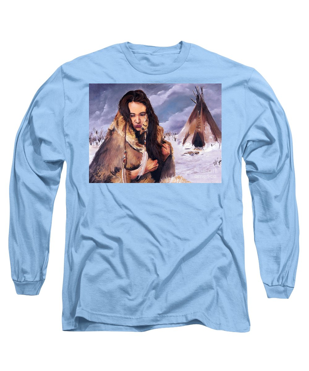 Southwest Art Long Sleeve T-Shirt featuring the painting Solitude by J W Baker