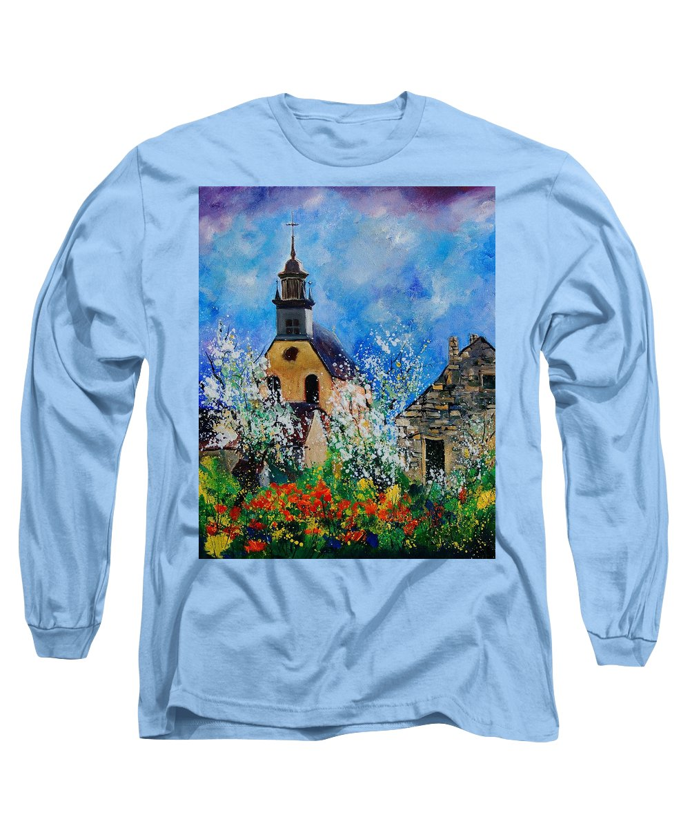 Spring Long Sleeve T-Shirt featuring the painting Spring In Foy Notre Dame Dinant by Pol Ledent