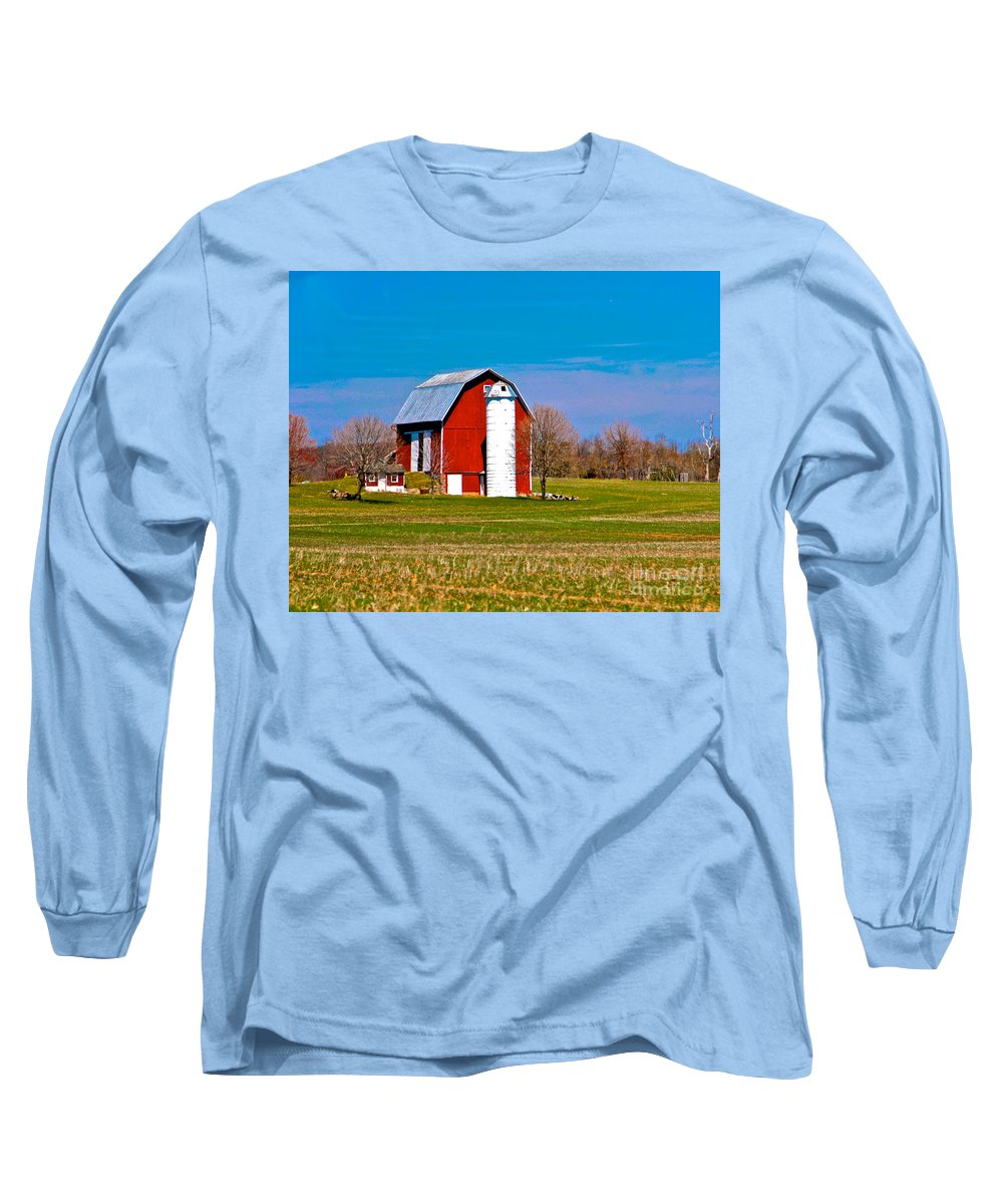 Barn Long Sleeve T-Shirt featuring the photograph Spring Time On The Farm by Robert Pearson
