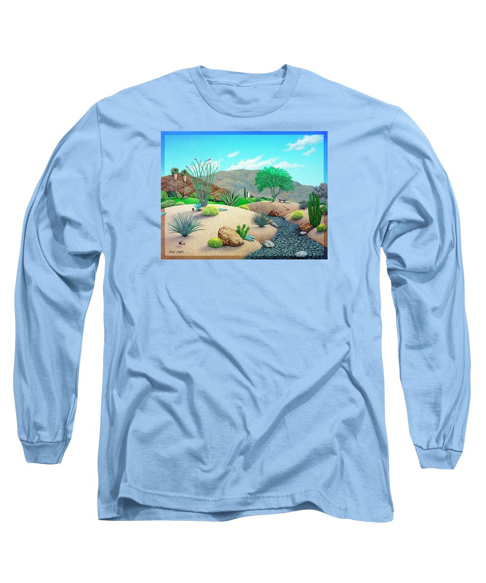 Desert Long Sleeve T-Shirt featuring the painting Steves Yard by Snake Jagger