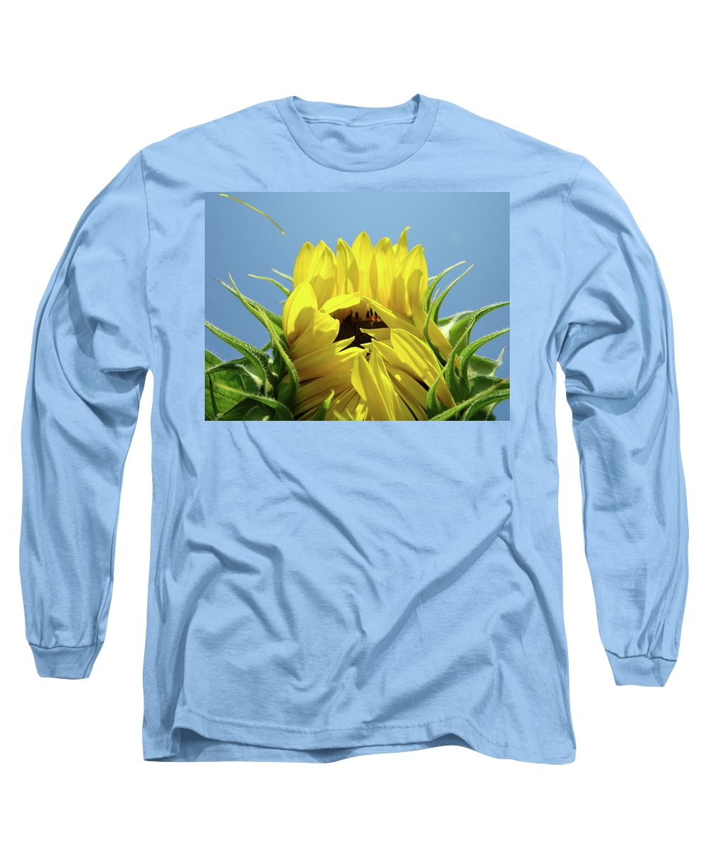 Sunflower Long Sleeve T-Shirt featuring the photograph Sunflower Opening Sunny Summer Day 1 Giclee Art Prints Baslee Troutman by Baslee Troutman