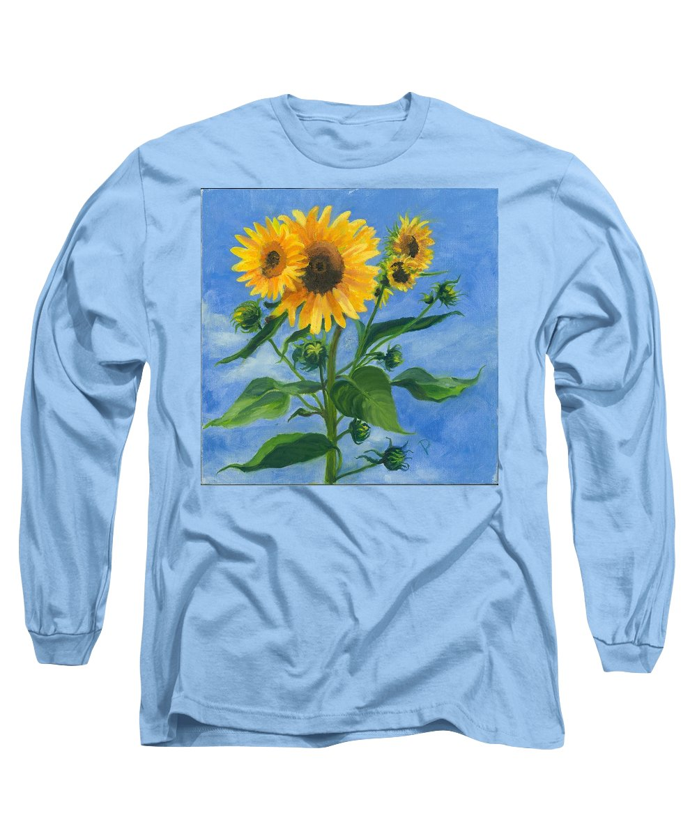 Flowers Long Sleeve T-Shirt featuring the painting Sunflowers On Bauer Farm by Paula Emery