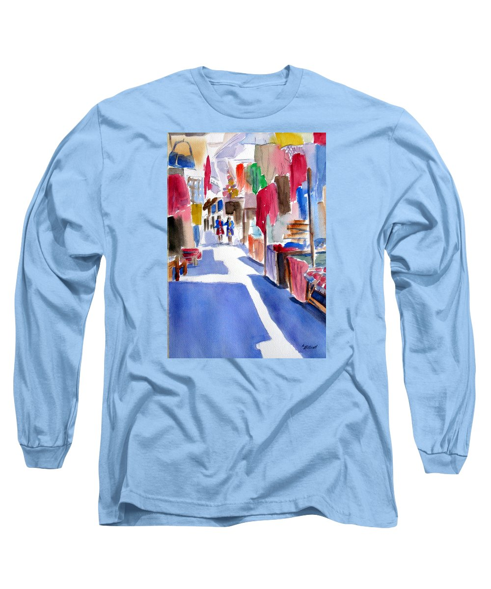 Market Long Sleeve T-Shirt featuring the painting Sunny Day At The Market by Marsha Elliott
