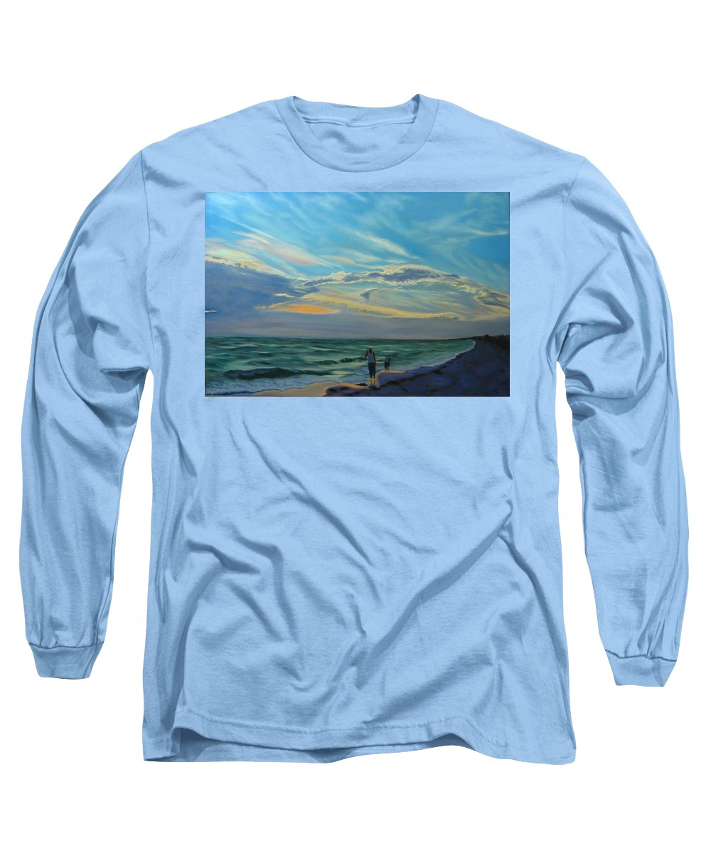 Seascape Long Sleeve T-Shirt featuring the painting Sunset Treasure Hunt by Lea Novak