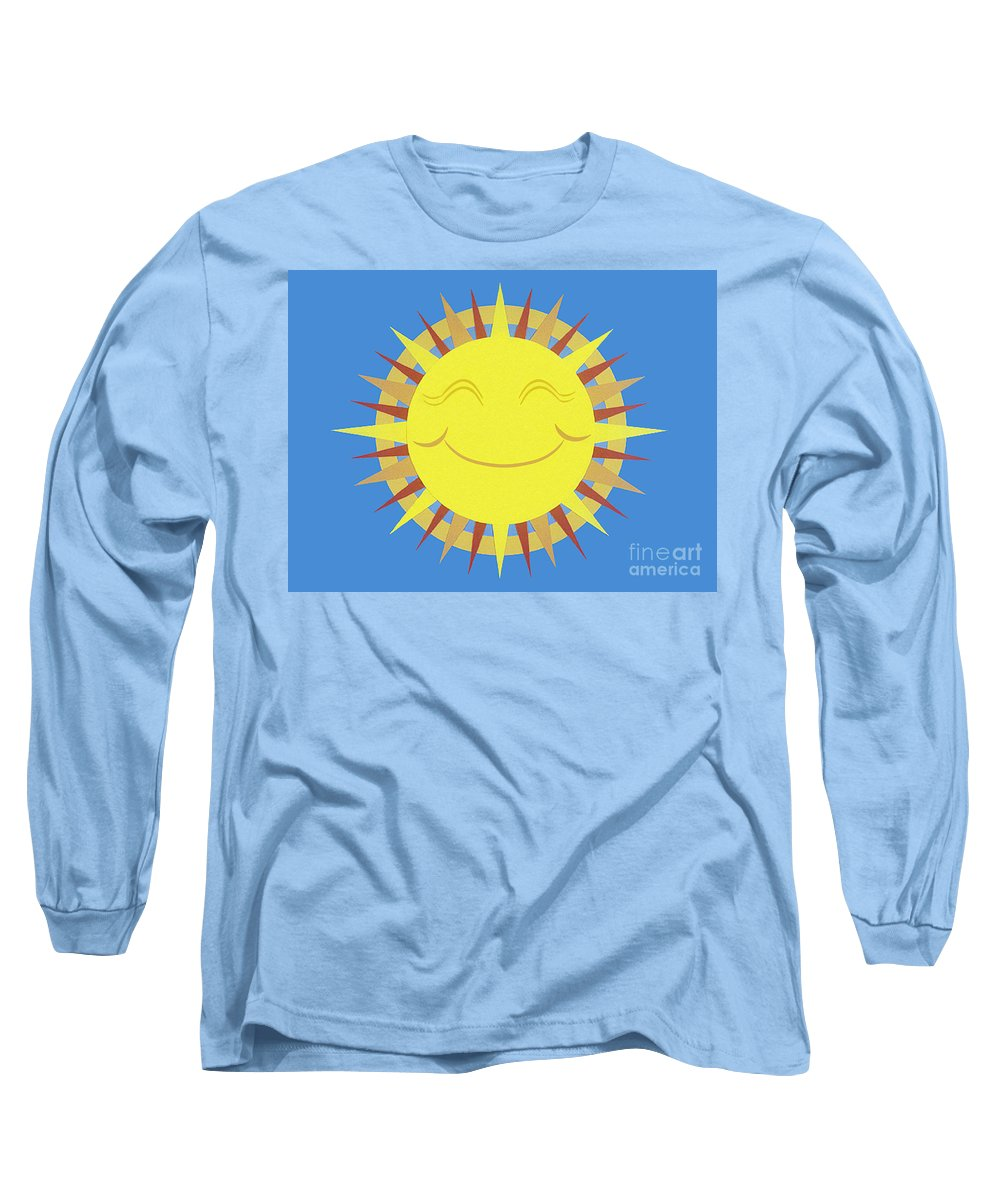 Nature Long Sleeve T-Shirt featuring the drawing Sunshine by Lucyna A M Green