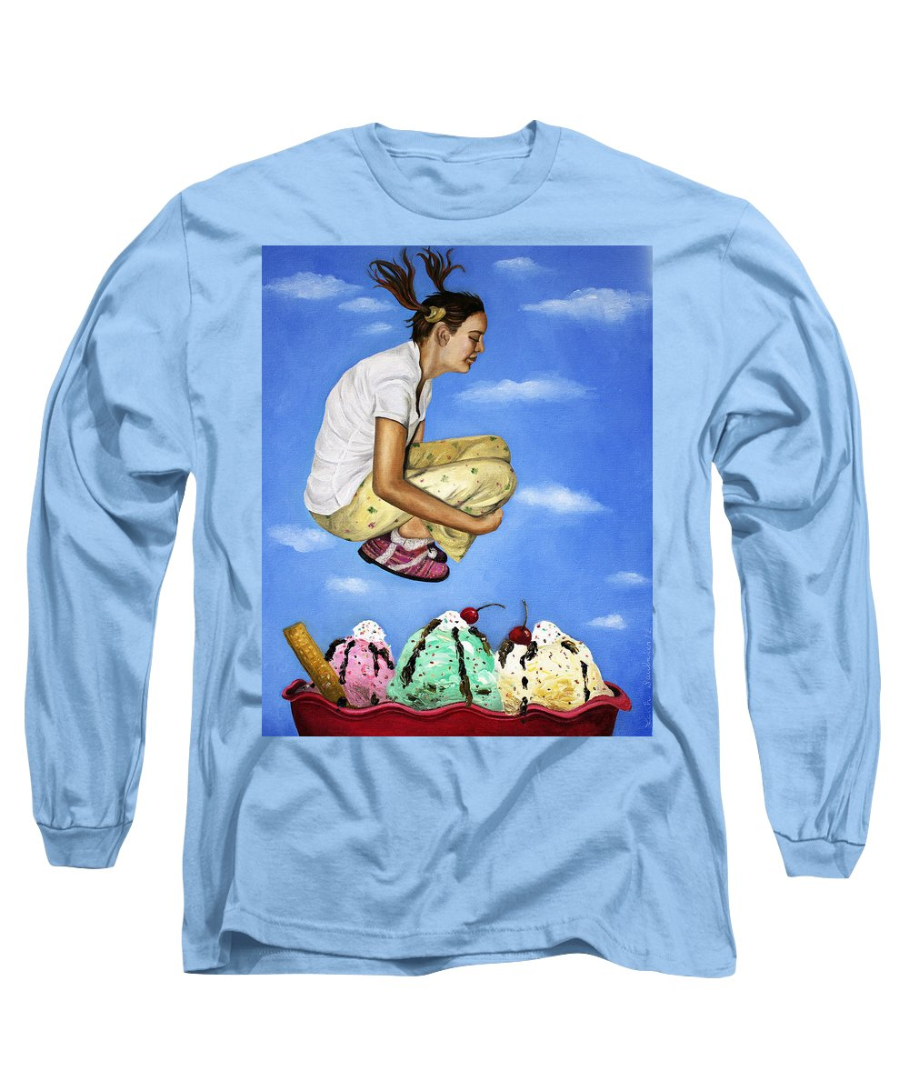 Ice Cream Long Sleeve T-Shirt featuring the painting Sweet Dreams by Leah Saulnier The Painting Maniac