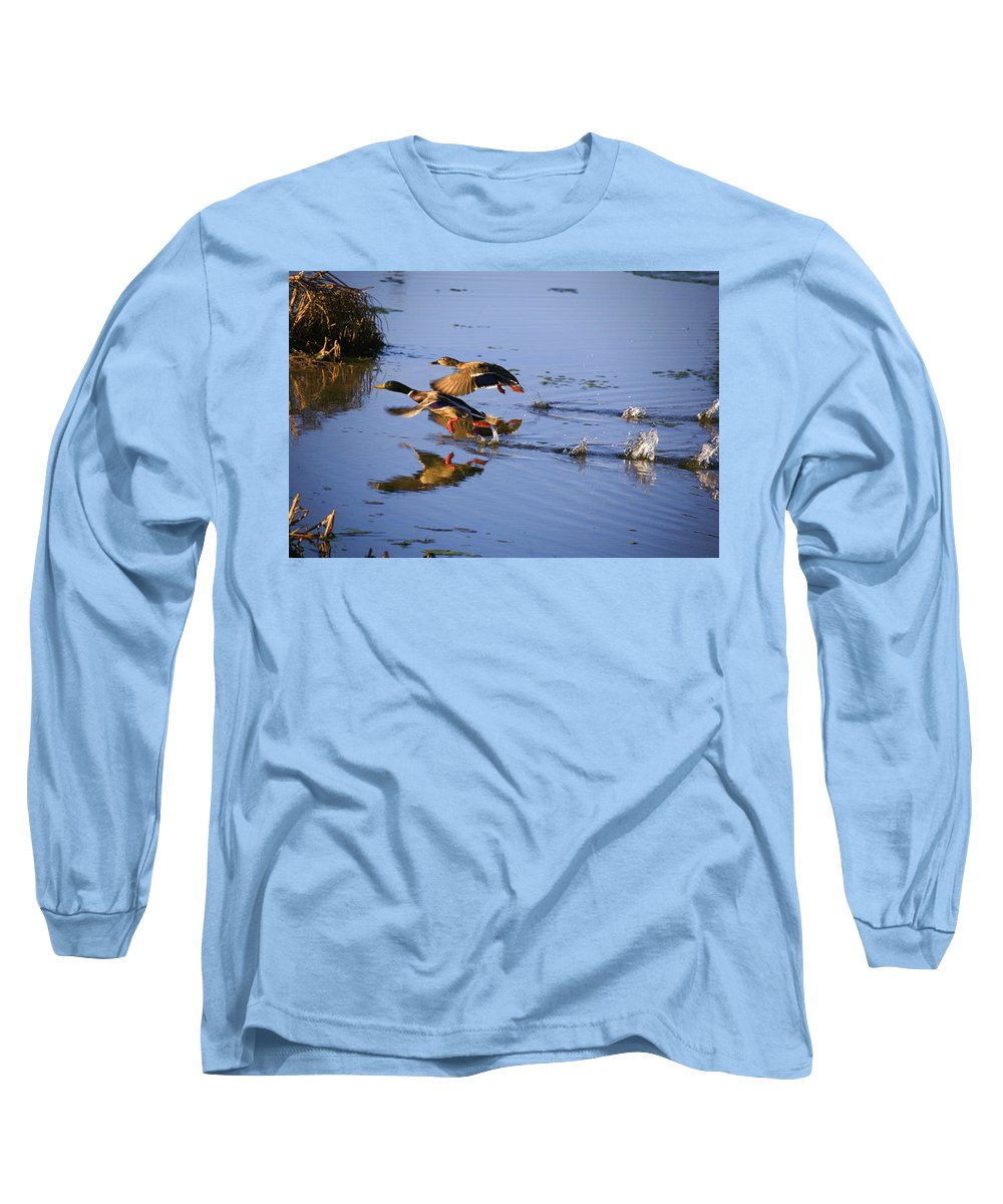 Duck Long Sleeve T-Shirt featuring the photograph Take Off by Robert Pearson