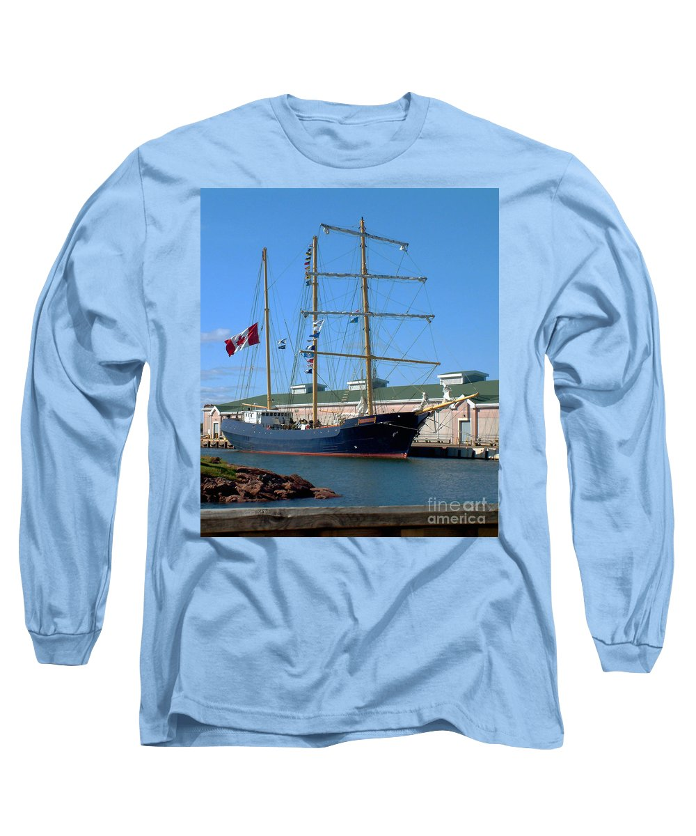 Dock Long Sleeve T-Shirt featuring the photograph Tall Ship Waiting by RC DeWinter