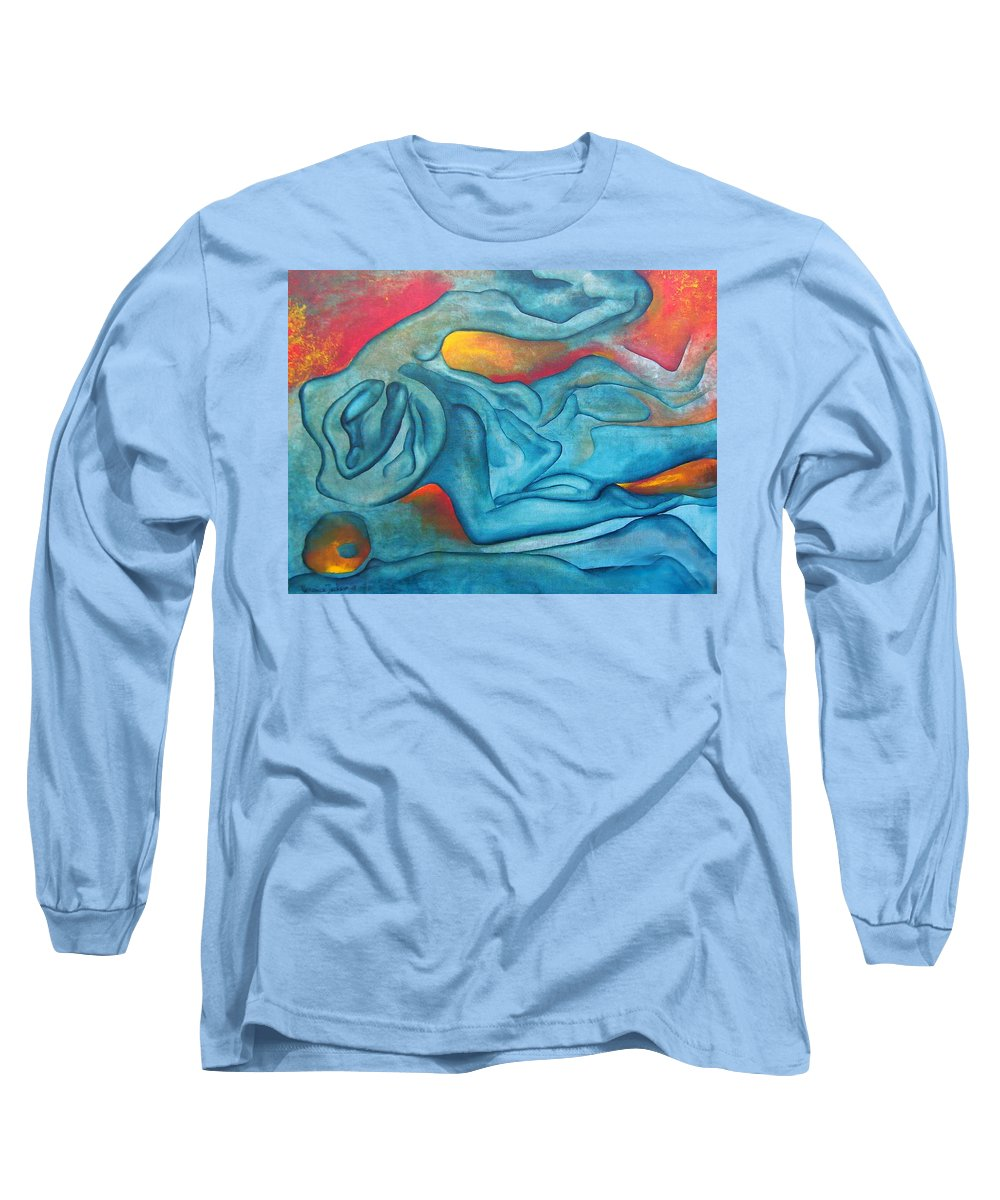 Abstract Blues Love Passion Sensual Earth Long Sleeve T-Shirt featuring the painting Tangled Up by Veronica Jackson
