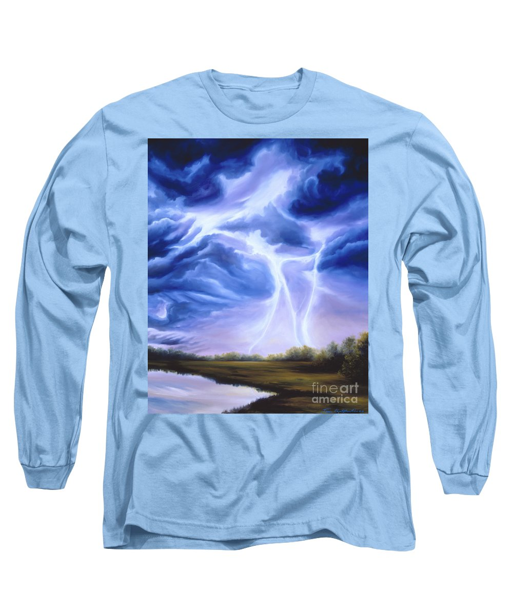 Marsh Long Sleeve T-Shirt featuring the painting Tesla by James Christopher Hill